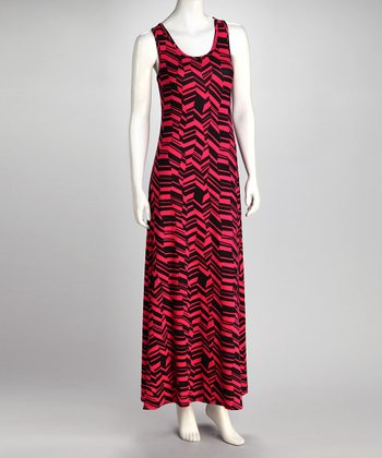 Fuchsia & Black Abstract Chevron Maxi Dress