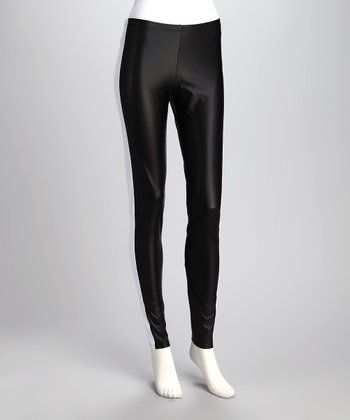 Black & White Faux Leather Leggings - Women