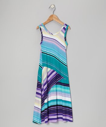Aqua & Purple Stripe Maxi Dress - Toddler & Girls