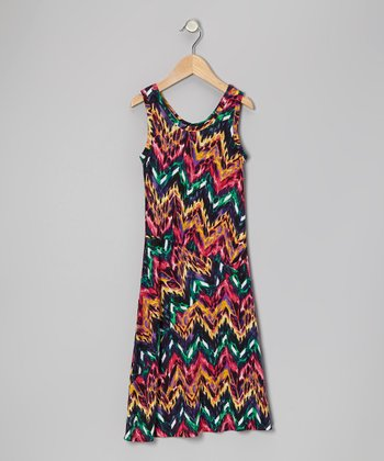 Aqua & Fuchsia Chevron Maxi Dress - Toddler & Girls