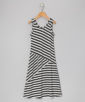 Black & White Stripe Maxi Dress - Toddler & Girls