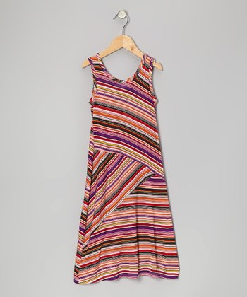 Purple & Orange Stripe Maxi Dress - Toddler & Girls