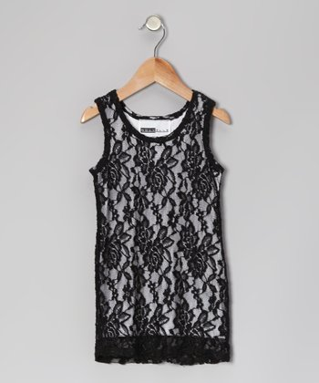 Black Lace Shift Dress - Toddler & Girls