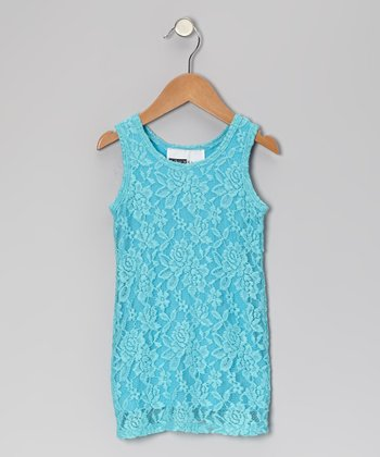 Turquoise Lace Shift Dress - Toddler & Girls