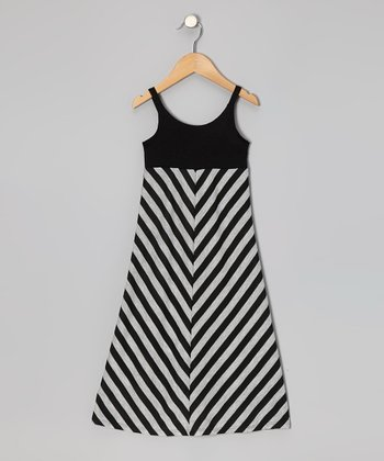 Black & Gray Stripe Maxi Dress - Toddler & Girls