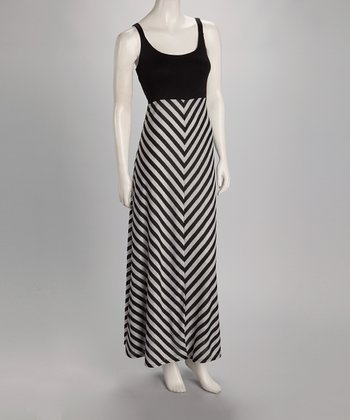 Black & Gray Stripe Maxi Dress - Women
