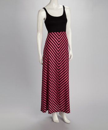 Black & Lipstick Pink Maxi Dress - Women