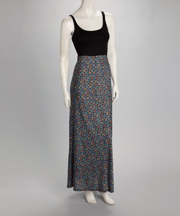 Black & Coral Dot Maxi Dress - Women