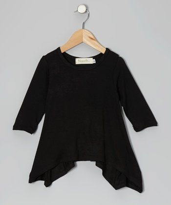Black Sidetail Three-Quarter Sleeve Top - Toddler & Girls