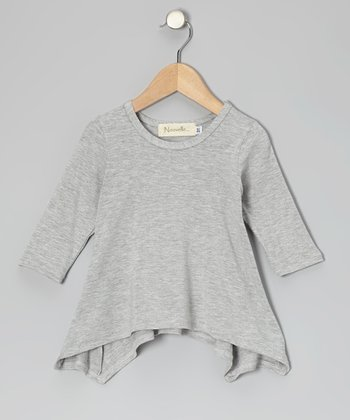Gray Sidetail Three-Quarter Sleeve Top - Toddler & Girls