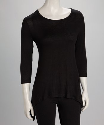 Black Sidetail Three-Quarter Sleeve Top - Women