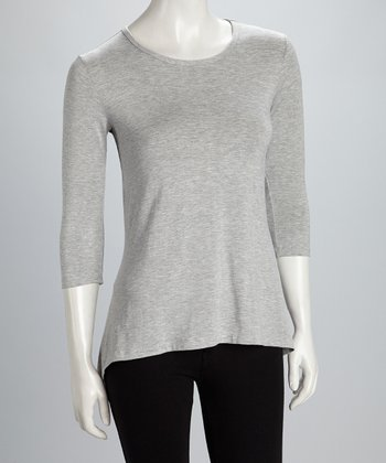 Gray Sidetail Three-Quarter Sleeve Top - Women