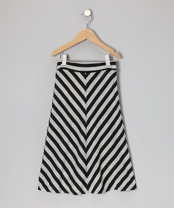 Gray & Black Stripe Maxi Skirt - Toddler & Girls