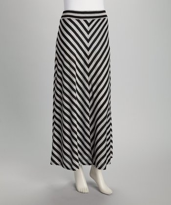 Gray & Black Stripe Maxi Skirt - Women