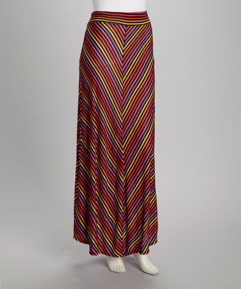 Orange & Yellow Stripe Maxi Skirt - Women