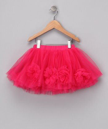 Hot Pink Flower Skirt - Toddler & Girls