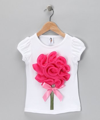 White & Dark Pink Bouquet Tee - Toddler & Girls