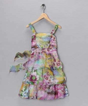 Pink Floral Dress - Girls