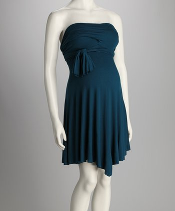 Dark Teal Convertible Maternity Mini Dress - Women