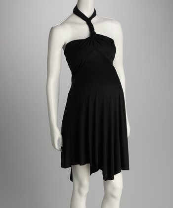 Black Convertible Maternity & Post-Pregnancy Minidress - Women