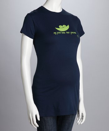 Navy 'My Pod Has 2 Peas' Maternity Tee - Petite