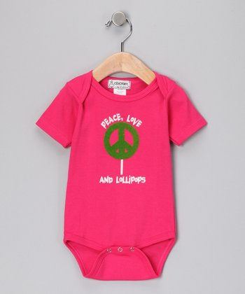 Hot Pink 'Peace Love & Lollipops' Bodysuit - Infant