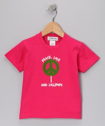 Hot Pink 'Peace, Love and Lollipops' Tee - Toddler & Kids