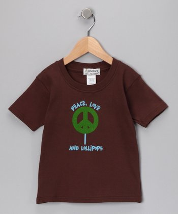 Chocolate 'Peace, Love and Lollipops' Tee - Toddler & Kids