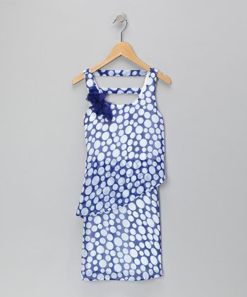 Royal & White Polka Dot Dress