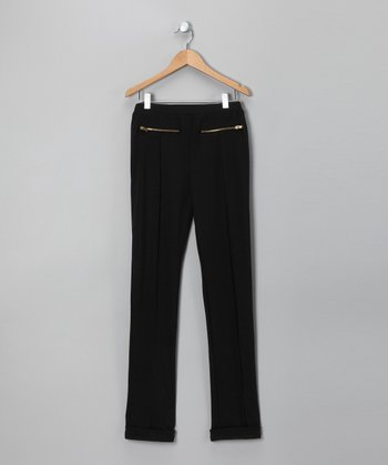 Black Zipper Pocket Pants