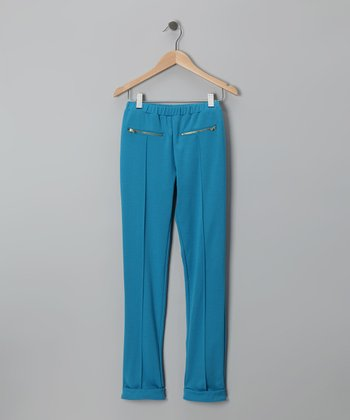 Teal Zipper-Pocket Pants