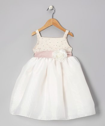 Ivory Polka Dot Flower Dress - Infant, Toddler & Girls
