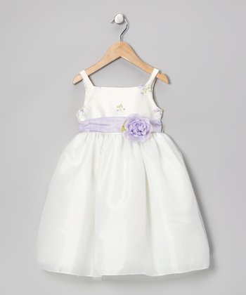 Ivory & Lilac Flower Dress - Infant, Toddler & Girls