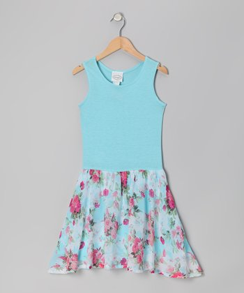 Aqua Rose Jersey Dress - Girls