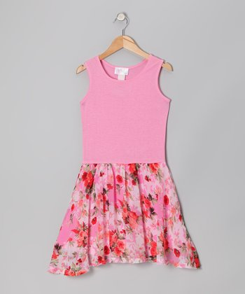 Pink Rose Jersey Dress - Girls