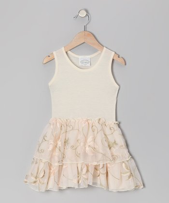 Ivory Flower Jersey Dress - Infant, Toddler & Girls