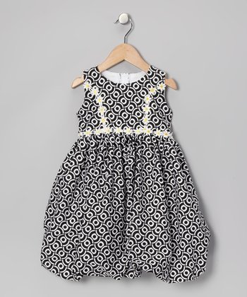Black & White Daisy Bubble Dress - Infant & Toddler