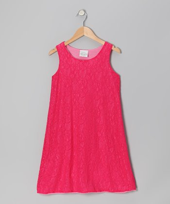 Fuchsia Lace Dress - Girls