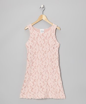 Peach Lace Dress - Girls