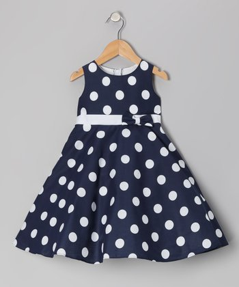 Navy Polka Dot Bow Dress - Infant, Toddler & Girls