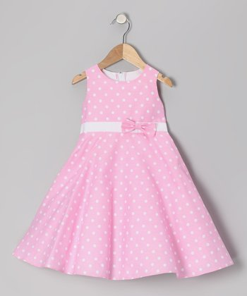 Pink Polka Dot Bow Dress - Girls