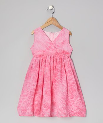 Pink Watercolor Surplice Dress - Toddler & Girls