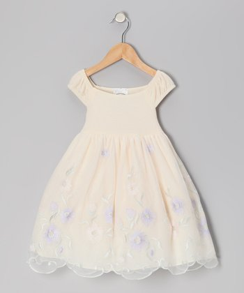 Ivory & Lilac Jersey Dress - Infant, Toddler & Girls
