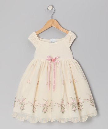 Ivory & Pink Jersey Dress - Infant, Toddler & Girls