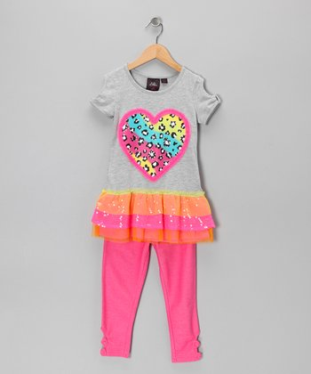 Gray Heart Tunic & Pink Leggings - Girls
