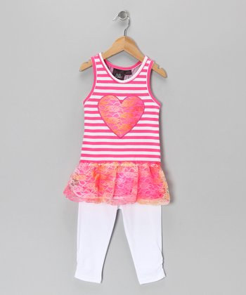 Pink Heart Stripe Tunic & White Leggings - Girls