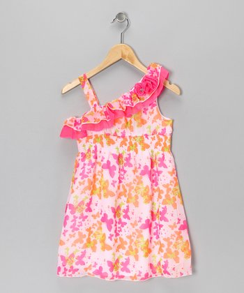 Pink & Green Butterfly Dress - Toddler & Girls