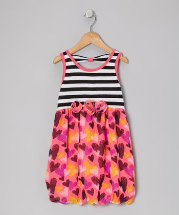 Black & Pink Heart Dress - Toddler & Girls