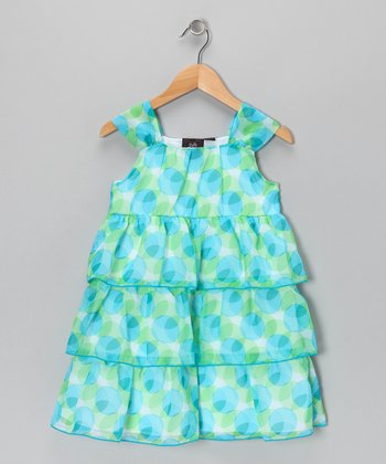 Green & Blue Tiered Ruffle Dress - Girls