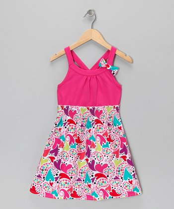 Pink Paisley Heart Dress - Girls